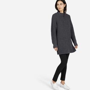 Everlane Waffle Knit Tunic Sweater Grey Small Wool